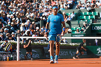 June 1, 2015: Rafael Nadal of Spain in action in a 4th round match against Jack Sock of United States of America on day nine of the 2015 French Open tennis tournament at Roland Garros in Paris, France. Sydney Low/AsteriskImages
