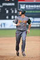 Sean Bouchard (6) of the Boise Hawks runs the bases during a game against the Everett AquaSox at Everett Memorial Stadium on July 21, 2017 in Everett, Washington. Everett defeated Boise, 10-4. (Larry Goren/Four Seam Images)