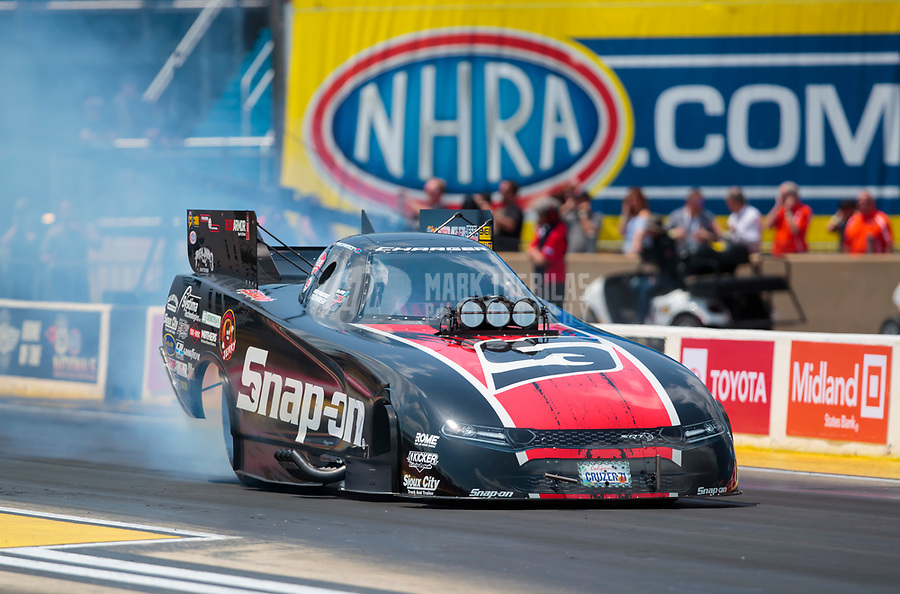 Jun 2, 2019; Joliet, IL, USA; NHRA funny car driver Cruz Pedregon during the Route 66 Nationals at Route 66 Raceway. Mandatory Credit: Mark J. Rebilas-USA TODAY Sports