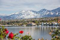 Rancho Santa Margarita Lake with Snow on the Santiago Peak Mountains