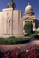 AJ3596, Boise, State Capitol, State House, Idaho, Monument stands in front of the State Capitol building in the capital city of Boise in the state of Idaho.