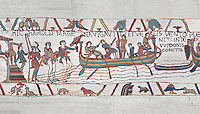 Bayeux Tapestry scene 4: Harold boards his ship to sail across the Channel to Normandy.  BYX4