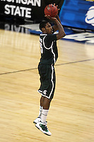 Michigan State Spartans Durrell Summers #15 goes up for a shot during the second round game of the NCAA Basketball Tournament at St. Pete Times Forum on March 17, 2011 in Tampa, Florida.  UCLA defeated Michigan State 78-76.  (Mike Janes/Four Seam Images)