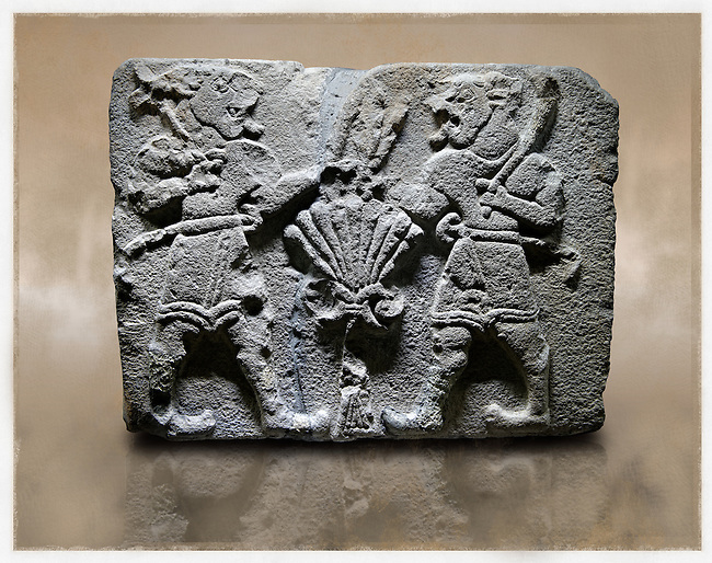 Picture & image of a Neo-Hittite orthostat with a releif sculpture of Lion Men  from Aslantepe ,  Malatya, Turkey. Museum of Anatolian Civilisations, Ankara.