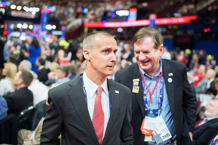 UNITED STATES - JULY 18: Corey Lewandowski, former aide to Donald Trump, appears on the floor of the Quicken Loans Arena on first day of the Republican National Convention in Cleveland, Ohio, July 18, 2016. (Photo By Tom Williams/CQ Roll Call)