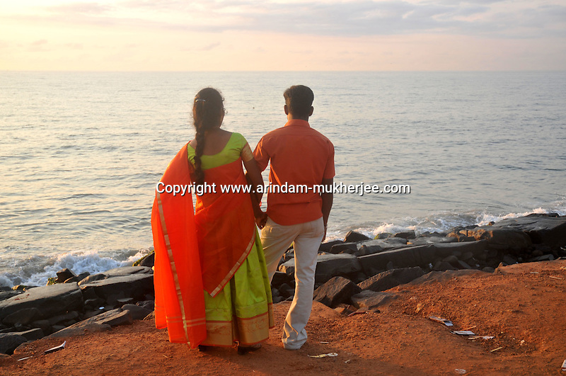 Indian couple on the beach of Pondicherry.Arindam Mukherjee/Sipa