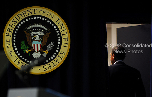 United States President Barack Obama leaves the podium after speaking at a event to mark the five-year anniversary of the financial crisis  in the South Court Auditorium at the White House September 16, 2013 in Washington, DC. <br /> Credit: Olivier Douliery / Pool via CNP