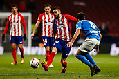 9th January 2018, Wanda Metropolitano, Madrid, Spain; Copa del Rey football, round of 16, second leg, Atletico Madrid versus Lleida; Yannick Carrasco (Atletico de Madrid) takes on Manuel Molina (Lleida)