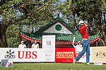 Steve Lewton of England tees off the 18th hole during the 58th UBS Hong Kong Golf Open as part of the European Tour on 08 December 2016, at the Hong Kong Golf Club, Fanling, Hong Kong, China. Photo by Vivek Prakash / Power Sport Images