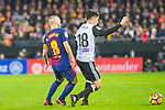 Andres Iniesta Lujan of FC Barcelona competes for the ball with Carlos Soler Barragan of Valencia CF during the La Liga 2017-18 match between Valencia CF and FC Barcelona at Estadio de Mestalla on November 26 2017 in Valencia, Spain. Photo by Maria Jose Segovia Carmona / Power Sport Images