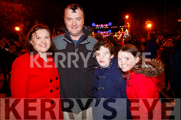 Caroline, Fergal,  Eoghan and Jennifer White, Tralee at the Fireworks in Tralee on New Years Eve.
