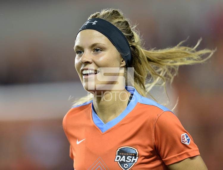 Houston Texas - Rachel Daly (3) of the Houston Dash is all smiles after her goal put Houston up 1-0 over the Chicago Red Stars in the first half on Saturday, April 16, 2016 at BBVA Compass Stadium in Houston Texas.  The Houston Dash defeated the Chicago Red Stars 3-1.