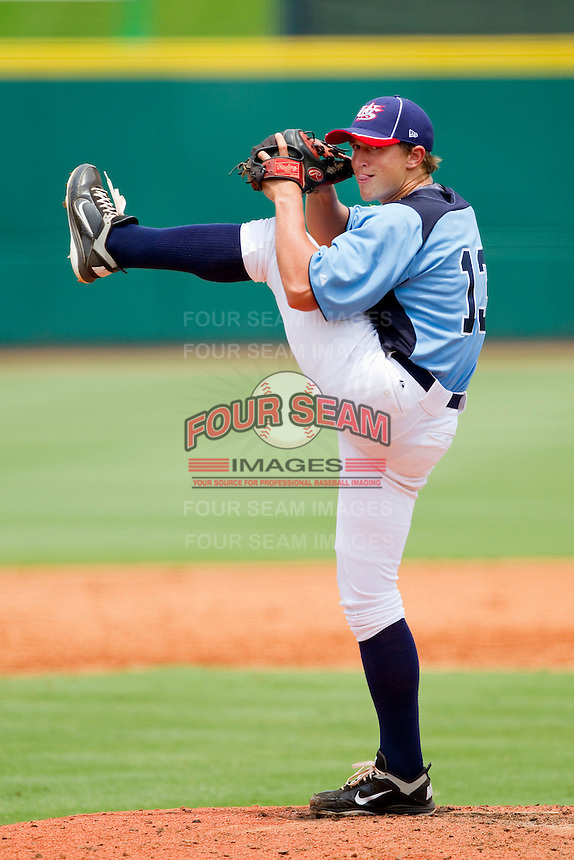 Carson Fulmer #13 of Dixie in action against PONY at the 2011 Tournament of Stars at the USA Baseball National Training Center on June 26, 2011 in Cary, North Carolina.  PONY defeated Dixie 4-3. (Brian Westerholt/Four Seam Images)