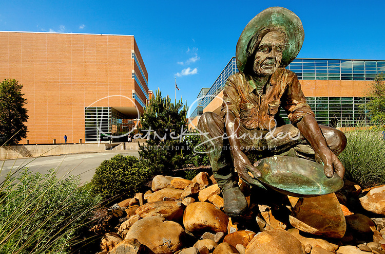 Photography of Charlotte NC's University of North Carolina at Charlotte campus (UNC Charlotte). UNCC, a public university located in northeast Charlotte, is part of the University of North Carolina higher education system. Opened in 1946, the campus has experienced explosive growth in recent years, including the addition of its Charlotte Research Institute campus and a football team. Photo shows the bronze 49ers Gold Miner statue, which recalls the region's history in gold mining.