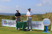 Ronan Mullarney (Galway) and Robert Brazill (Naas) on the 1st tee for the Final of the AIG Irish Amateur Close Championship 2019 in Ballybunion Golf Club, Ballybunion, Co. Kerry on Wednesday 7th August 2019.<br /> <br /> Picture:  Thos Caffrey / www.golffile.ie<br /> <br /> All photos usage must carry mandatory copyright credit (© Golffile | Thos Caffrey)
