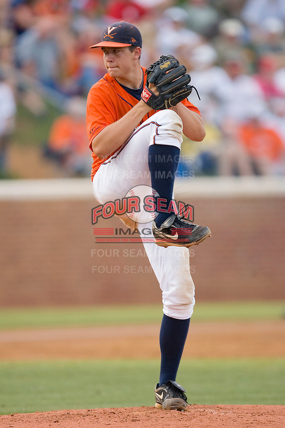 Starting pitcher Danny Hultzen #23 of the Virginia Cavaliers in action against the Ole Miss Rebels at the Charlottesville Regional of the 2010 College World Series at Davenport Field on June 5, 2010, in Charlottesville, Virginia.  The Cavaliers defeated the Rebels 13-7.  Photo by Brian Westerholt / Four Seam Images