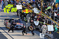 May 30, 2008; Dover, DE, USA; Nascar Craftsman Truck Series driver Scott Speed pits during the AAA Insurance 200 at Dover International Speedway. Mandatory Credit: Mark J. Rebilas-US PRESSWIRE.