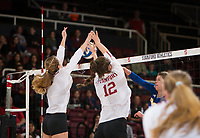 STANFORD, CA - December 1, 2017: Meghan McClure, Audriana Fitzmorris at Maples Pavilion. The Stanford Cardinal defeated the CSU Bakersfield Roadrunners 3-0 in the first round of the NCAA tournament.