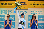 Simon Yates (GBR) Orica-Scott retains the White Jersey at the end of Stage 15 of the 104th edition of the Tour de France 2017, running 189.5km from Laissac-Severac l'Eglise to Le Puy-en-Velay, France. 16th July 2017.<br /> Picture: ASO/Pauline Ballet | Cyclefile<br /> <br /> <br /> All photos usage must carry mandatory copyright credit (&copy; Cyclefile | ASO/Pauline Ballet)