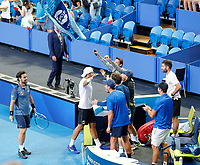 5th January 2020; RAC Arena, Perth, Western Australia; ATP Cup Australia, Perth, Day 3; Italy versus Norway; Simone Bolelli and Fabio Fognini of Italy celebrate with team mates after winning the doubles against Norway 2 sets to love - Editorial Use