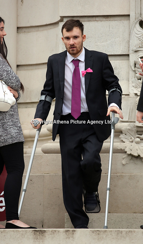 Pictured: Joshua Deguara outside Cardiff Crown Court. Friday 12 May 2017<br /> Re: Sentencing of a woman charged in connection with the death of a young woman in Cardiff last summer at Cradiff Crown Court.<br /> Melissa Pesticcio has denied four offences in relation to the death of 22-year-old Sophie Taylor in the early hours of August 22 2016.<br /> 23-year-old Pesticcio entered not guilty pleas to two counts of dangerous driving and two of aiding and abetting her co-defendant Michael Wheeler.<br /> Michael Wheeler, 22, pleaded guilty in December to causing death and serious injury by dangerous driving.<br /> Lewis Hall, a third defendant, was sentenced in January after he admitted intending to pervert the course of justice.