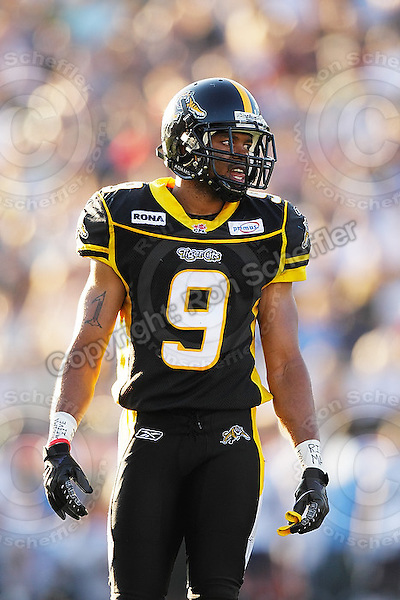 June 23, 2009; Hamilton, ON, CAN; Hamilton Tiger-Cats defensive back Geoff Tisdale (9). CFL football: Toronto Argonauts vs. Hamilton Tiger-Cats at Ivor Wynne Stadium. The Argos defeated the Tiger-Cats 27-17. Mandatory Credit: Ron Scheffler. Copyright (c) 2009 Ron Scheffler.
