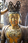 Brass Buddha figure, Gangaramaya Buddhist Temple, Colombo, Sri Lanka, Asia