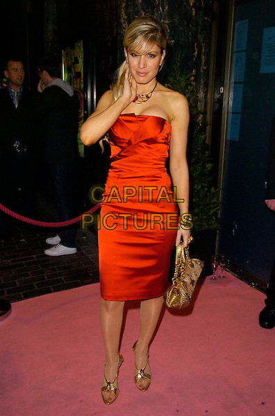 """HOFIT GOLAN.Attending """"A Night With Nick"""" Gala Charity Event at Soho Revue Bar, London, England, November 26th 2007..full length red strapless dress hand gold bag.CAP/CAN.©Can Nguyen/Capital Pictures"""