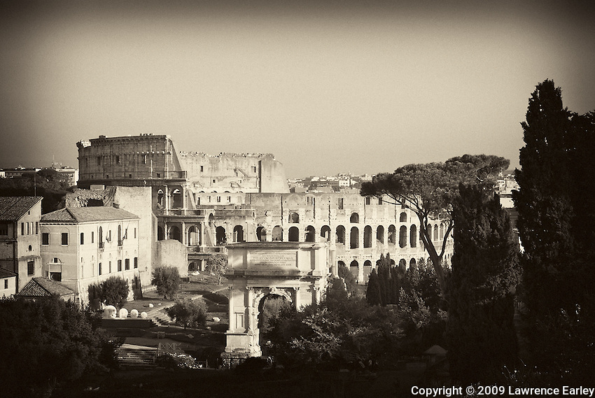 Photograph of the Colosseum taken from the Farnese Garden.