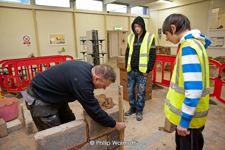 Construction NVQ trainees at a college run by Barnsley Community Build, a social enterprise.