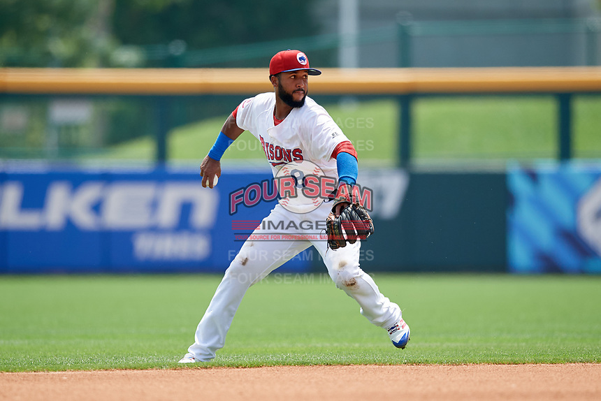 Buffalo Bisons second baseman Richard Urena (8) throws to first base during a game against the Pawtucket Red Sox on June 28, 2018 at Coca-Cola Field in Buffalo, New York.  Buffalo defeated Pawtucket 8-1.  (Mike Janes/Four Seam Images)