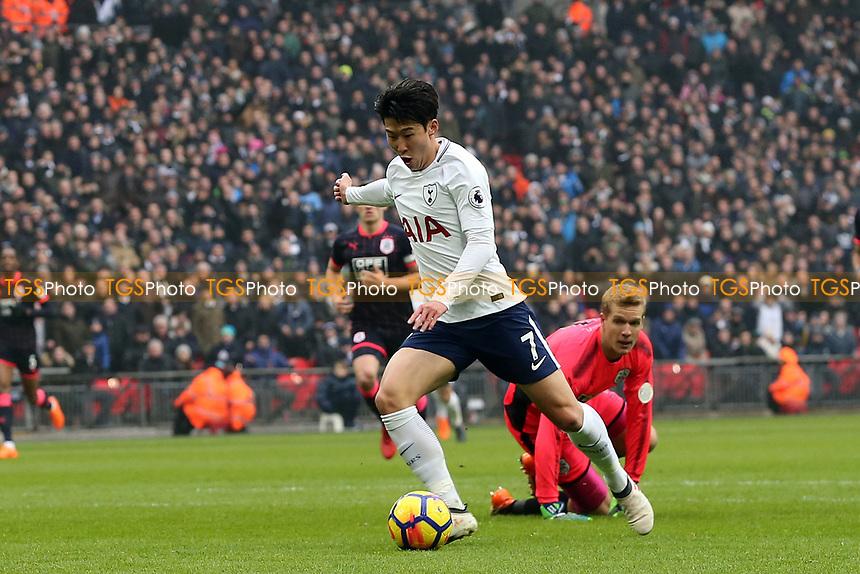 Son Heung-Min of Tottenham Hotspur scores the opening goal during Tottenham Hotspur vs Huddersfield Town, Premier League Football at Wembley Stadium on 3rd March 2018
