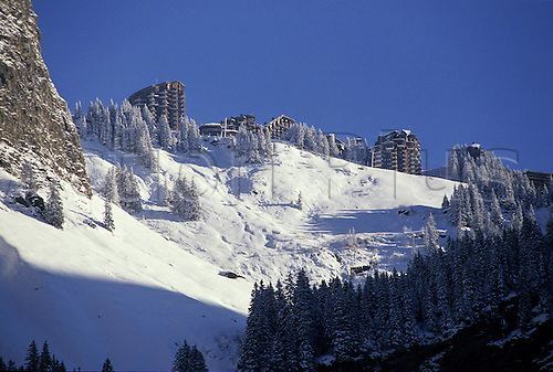December 1990: General view of the alpine resort of Avoriaz, France. Photo: Neale Haynes/actionplus..9012 winter sports snow snowy mountain alp recreation leisure holiday french ski skiing venue