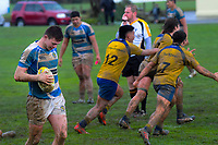 Rongotai players celebrate the 10-5 victory at the final whistle of the Wellington 1st XV premier rugby match between Rongotai College and St Patrick's College Silverstream at Rongotai College in Wellington, New Zealand on Wednesday, 31 July 2019. Photo: Dave Lintott / lintottphoto.co.nz