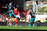 Mike van der Hoorn of Swansea City battles with Andreas Weimann of Bristol City during the Sky Bet Championship match between Bristol City and Swansea City at Ashton Gate in Bristol, England, UK. Saturday 21 September 2019