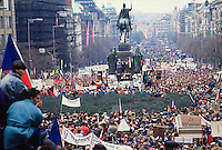 November 23, 1989. Prague, Czechoslovakia. Around 300.000 people gather at a pro-democracy demo in Vaclav Square. (Photo Heimo Aga)