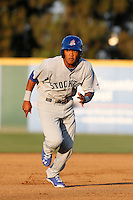 Addison Russell #27 of the Stockton Ports runs the bases against the Rancho Cucamonga Quakes at LoanMart Field on June 13, 2013 in Rancho Cucamonga, California. Stockton defeated Rancho Cucamonga, 8-4. (Larry Goren/Four Seam Images)