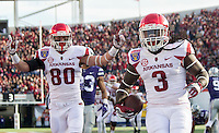NWA Democrat-Gazette/JASON IVESTER <br /> Arkansas vs Kansas St, Liberty Bowl<br /> Arkansas running back Alex Collins (3) and Arkansas wide receiver Drew Morgan (80) celebrate following a touchdown during the first quarter on Saturday, Jan. 2, 2016, at the Liberty Bowl in Memphis, Tenn.