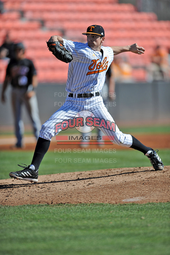 Tennessee Volunteers pitcher Andy Cox #46 delivers a pitch during a game against the UNLV Runnin' Rebels at Lindsey Nelson Stadium on February 22, 2014 in Knoxville, Tennessee. The Volunteers defeated the Rebels 5-4. (Tony Farlow/Four Seam Images)