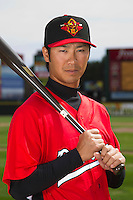 Rochester Red Wings infielder Tsuyoshi Nishioka #1 poses for a photo during media day at Frontier Field on April 3, 2012 in Rochester, New York.  (Mike Janes/Four Seam Images)