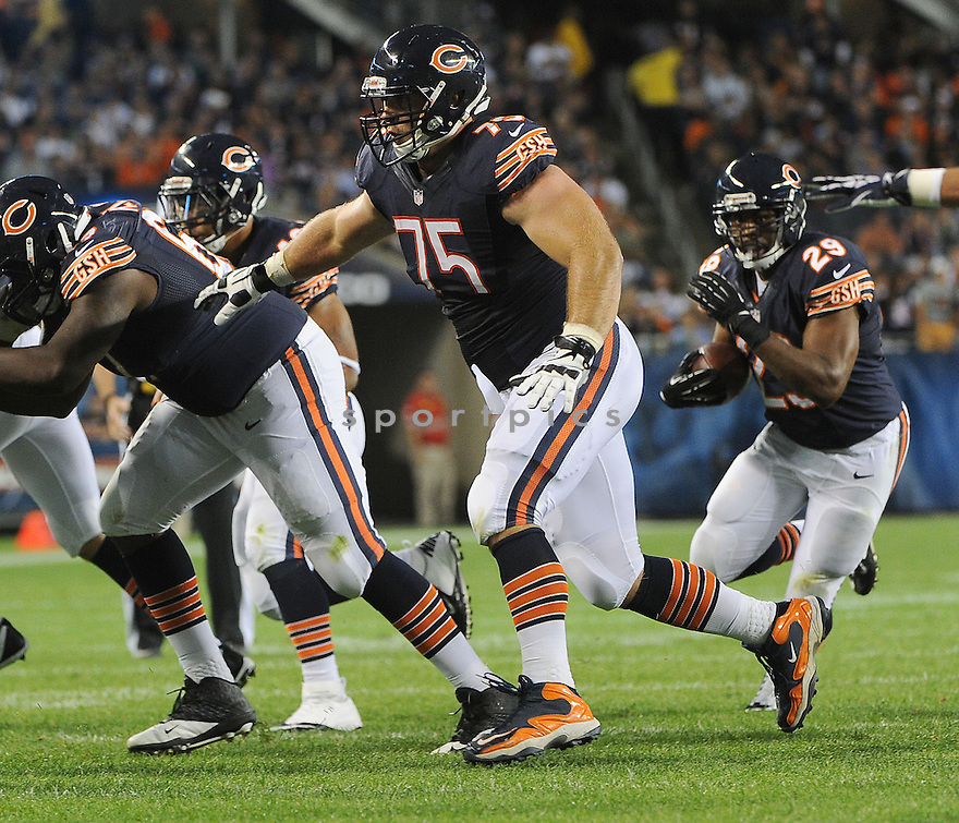 Chicago Bears Kyle Long (75) during a preseason game against the San Diego Chargers on August 15, 2013 at Soldier Field in Chicago, IL. The Bears beat the Chargers 33-28.