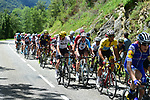 The peloton including Yellow Jersey Fabio Aru (ITA) Astana, Chris Froome (GBR) Team Sky and Romain Bardet (FRA) AG2R in action during Stage 13 of the 104th edition of the Tour de France 2017, running 101km from Saint-Girons to Foix, France. 14th July 2017.<br /> Picture: ASO/Pauline Ballet | Cyclefile<br /> <br /> <br /> All photos usage must carry mandatory copyright credit (&copy; Cyclefile | ASO/Pauline Ballet)