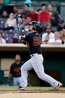Kyle Waldrop #25 of the Bakersfield Blaze bats against the Inland Empire 66ers at San Manuel Stadium on August 22, 2013 in San Bernardino, California. Bakersfield defeated Inland Empire, 2-1. (Larry Goren/Four Seam Images)