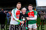 Noel C Duggan  celebrates with his grandson Noel Duggan and Brendan Kealy after winning the Munster Intermediate Championship in Mallow on Sunday
