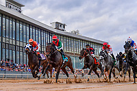 HOT SPRINGS, AR - FEBRUARY 19:Rocking The Boat with jockey Femando De La Cruz (green and red jersey) with early lead in the Razorback Handicap at Oaklawn Park on February 19, 2018 in Hot Springs, Arkansas. (Photo by Ted McClenning/Eclipse Sportswire/Getty Images)
