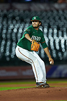 Miami Hurricanes relief pitcher Michael Mediavilla (18) in action against the North Carolina Tar Heels in the second semifinal of the 2017 ACC Baseball Championship at Louisville Slugger Field on May 27, 2017 in Louisville, Kentucky. The Tar Heels defeated the Hurricanes 12-4. (Brian Westerholt/Four Seam Images)
