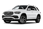 Stock pictures of low aggressive front three quarter view of 2020 Mercedes Benz GLE 350-d-4MATIC 5 Door SUV Low Aggressive