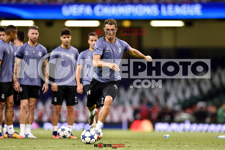 Cristiano Ronaldo of Real Madrid during the training session ahead the UEFA Champions League Final between Real Madrid and Juventus at the National Stadium of Wales, Cardiff, Wales on 2 June 2017. Photo by Giuseppe Maffia.<br /> Giuseppe Maffia/UK Sports Pics Ltd/Alterphotos /NortePhoto.com