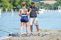 "Henley on Thames, United Kingdom, 24th June 2018, Sunday, ""Henley Women's Regatta"", view, ""Championship Women's Single Sculler"", Fiona EWING, Sydney University, AUS, with coach, ""Alan ""AB"" Bennett"" - Henley Reach, River Thames, Thames valley, England, © Peter SPURRIER 24/06/2018"