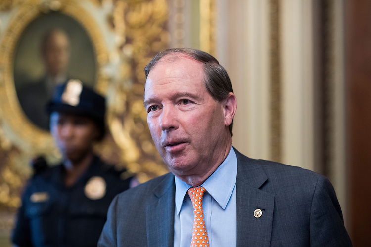 UNITED STATES - SEPTEMBER 7: Sen. Tom Udall, D-N.M.,   leaves the Senate Democrats' weekly policy lunch in the Capitol on Wednesday, Sept. 7, 2016. (Photo By Bill Clark/CQ Roll Call)